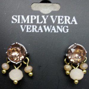 🇺🇸 3/$30 Simply Vera Vera Wang pink/tan earrings